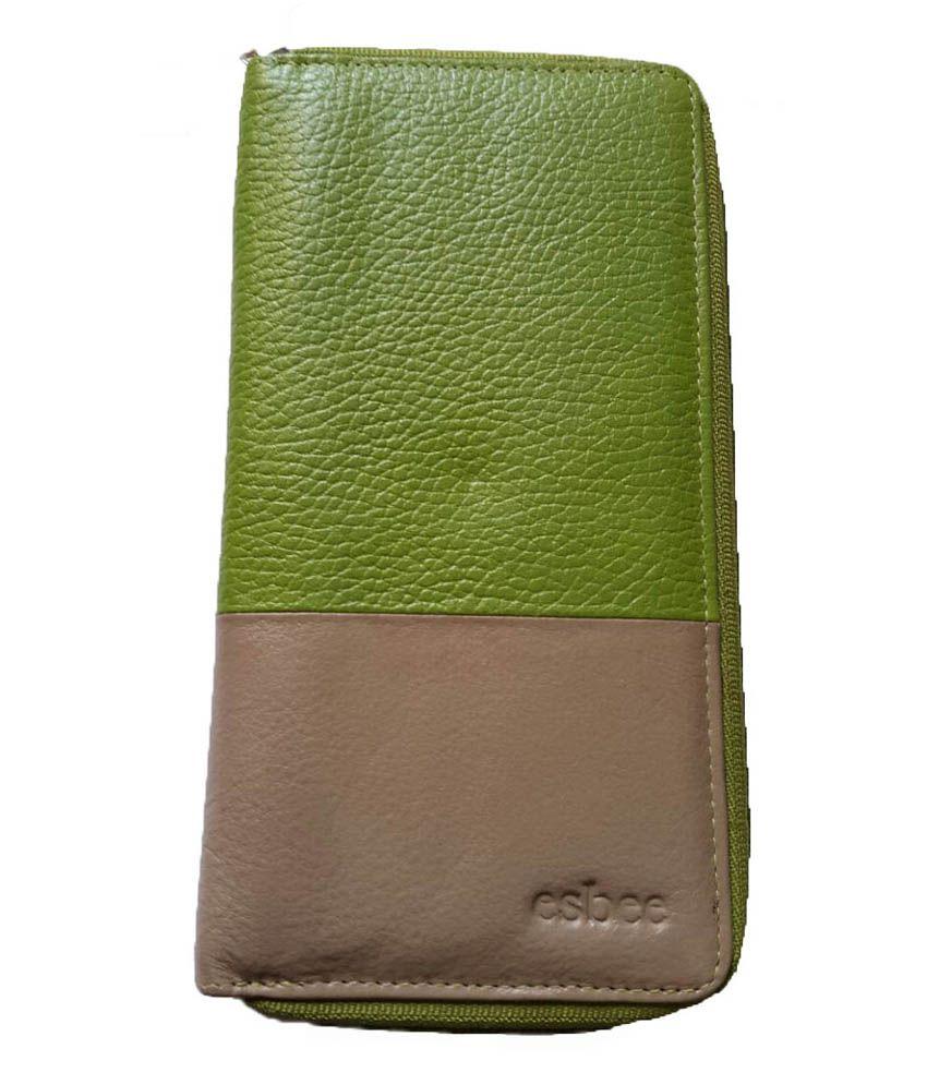 Esbee Premium Green & Cream Leather Regular Wallet For Women