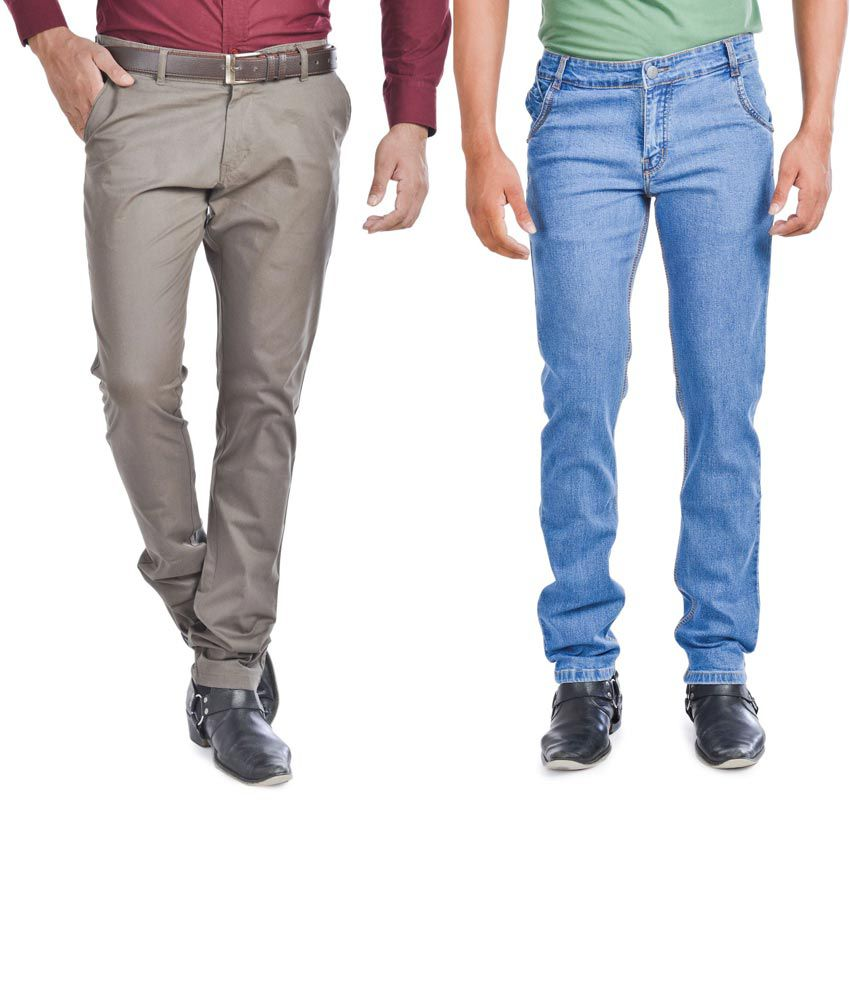 Wintage Combo Of Blue Regular Fit Jeans And Slim Fit Brown Trousers