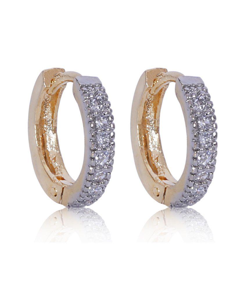 X Gold India Pretty American Diamonds Hoops Earrings