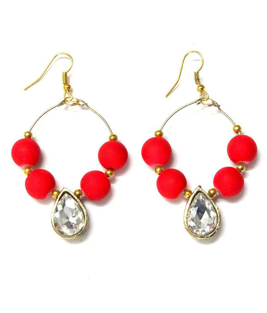 Barohk Studded Tear Drop Red Hoop Earrings
