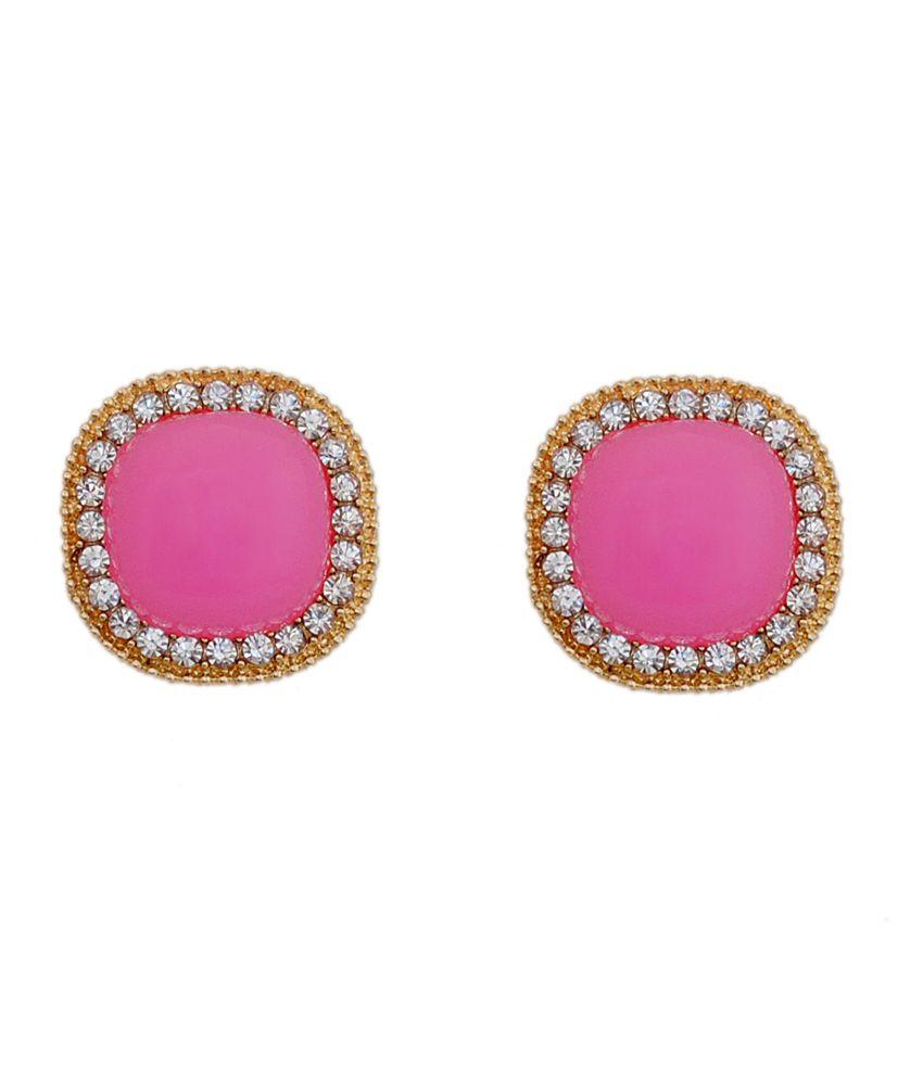 Finery Pink Acrylic & Metal Stud Earrings