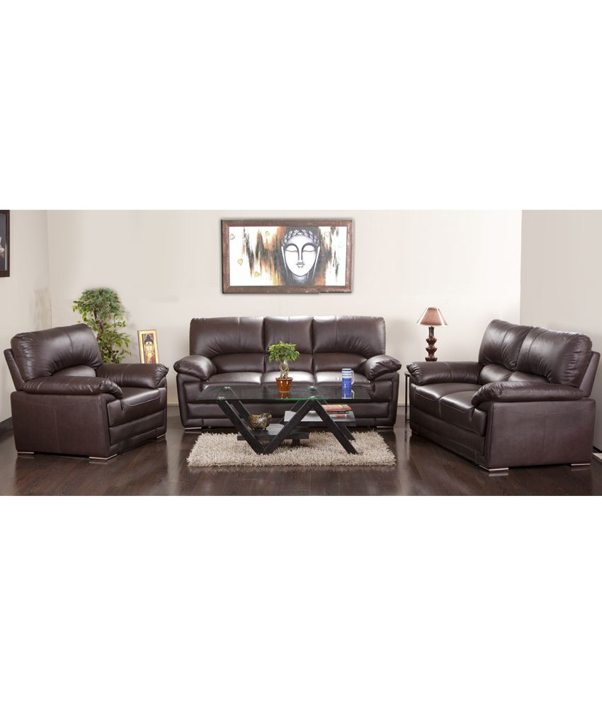 Hometown Eva Half Leather 3 2 1 Sofa Set