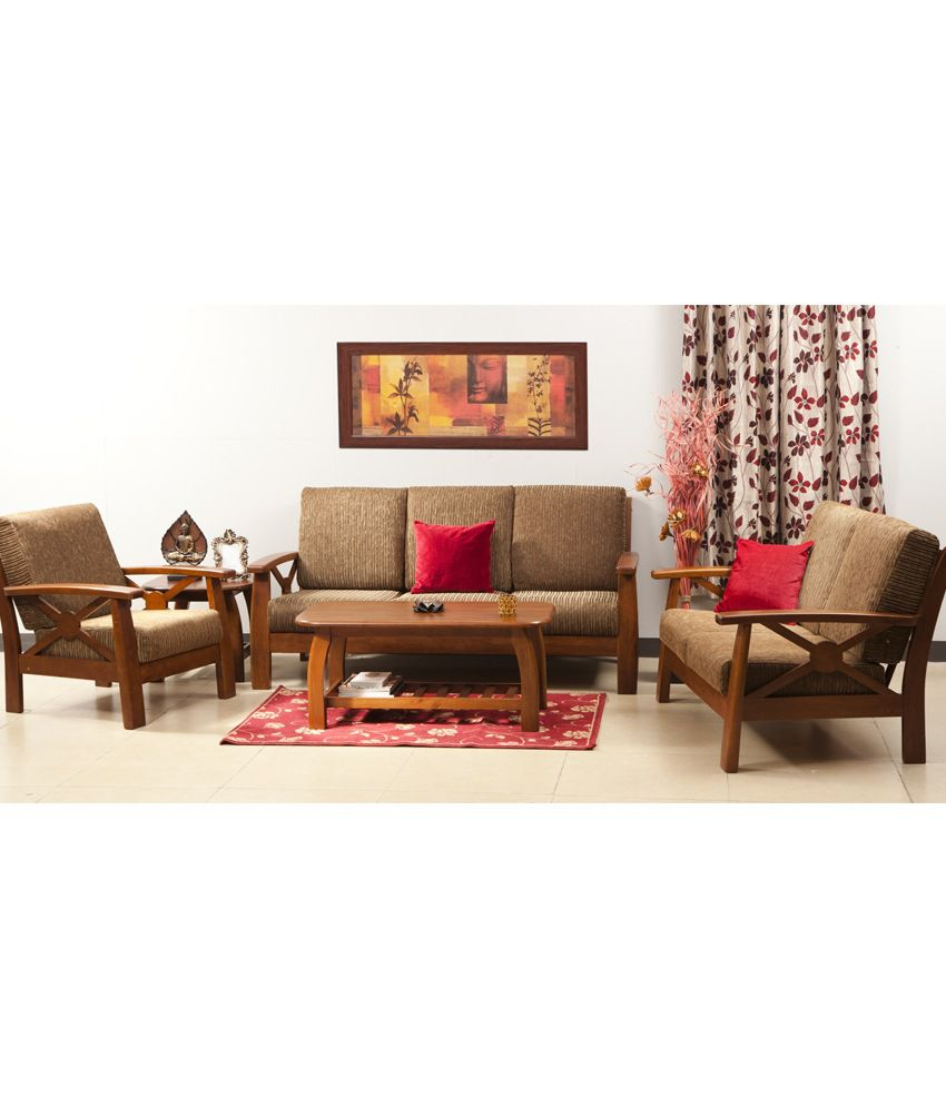 hometown winston solidwood 3 2 1 sofa set with centre and side table buy hometown winston. Black Bedroom Furniture Sets. Home Design Ideas