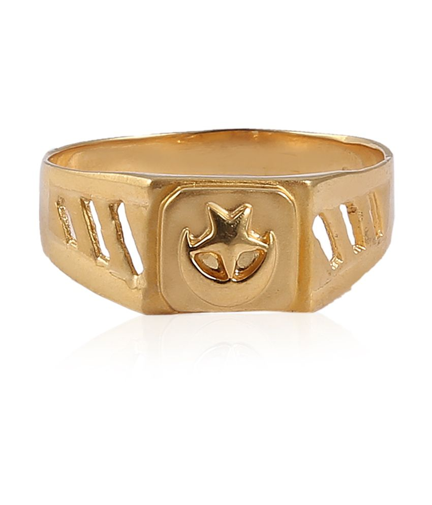 Jisha Yellow Gold Stylish Men's Ring In Pur