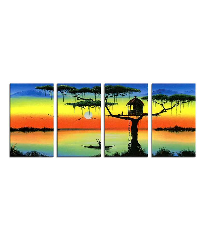 Painting Mantra Tree House Split Canvas Art Set - 4 Piece