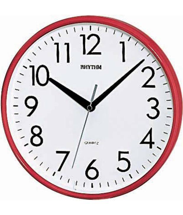 Rhythm red basic wall clock buy rhythm red basic wall for Best wall clocks online