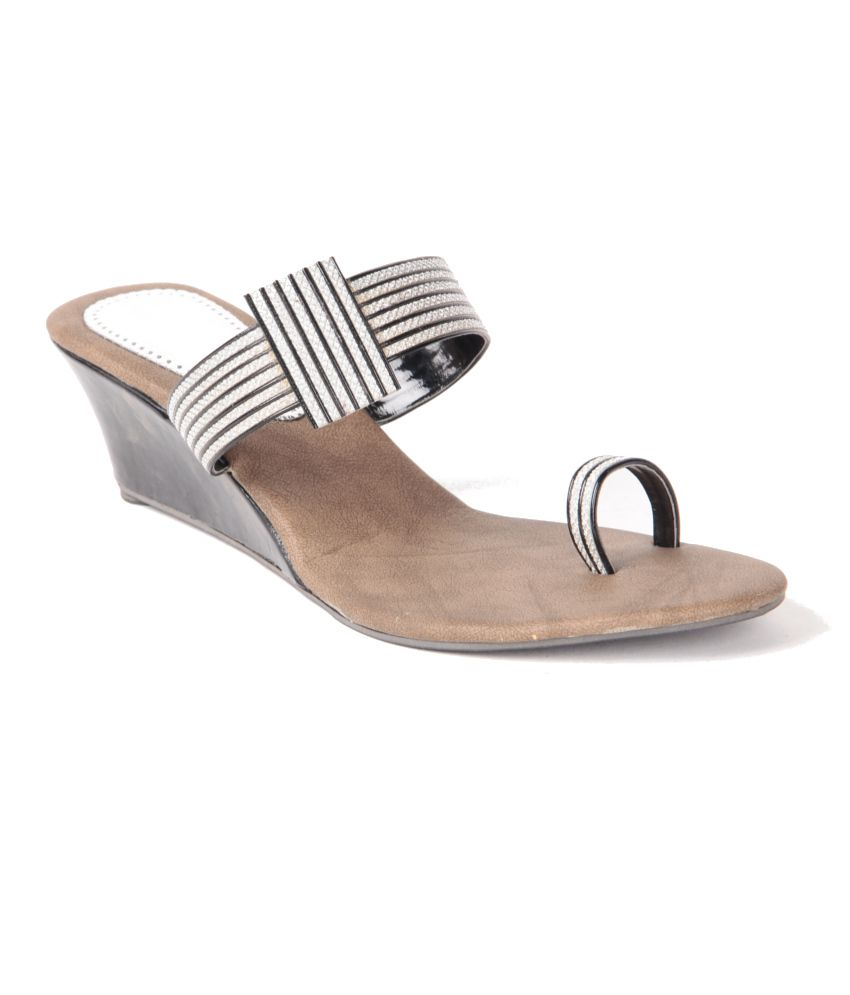 Anand Archies Black Wedges Heeled Slip-on
