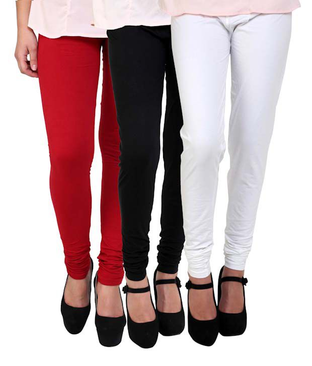 Anekaant Pack Of 3 Cotton Lycra Women's Churidar -, Red, Black, White