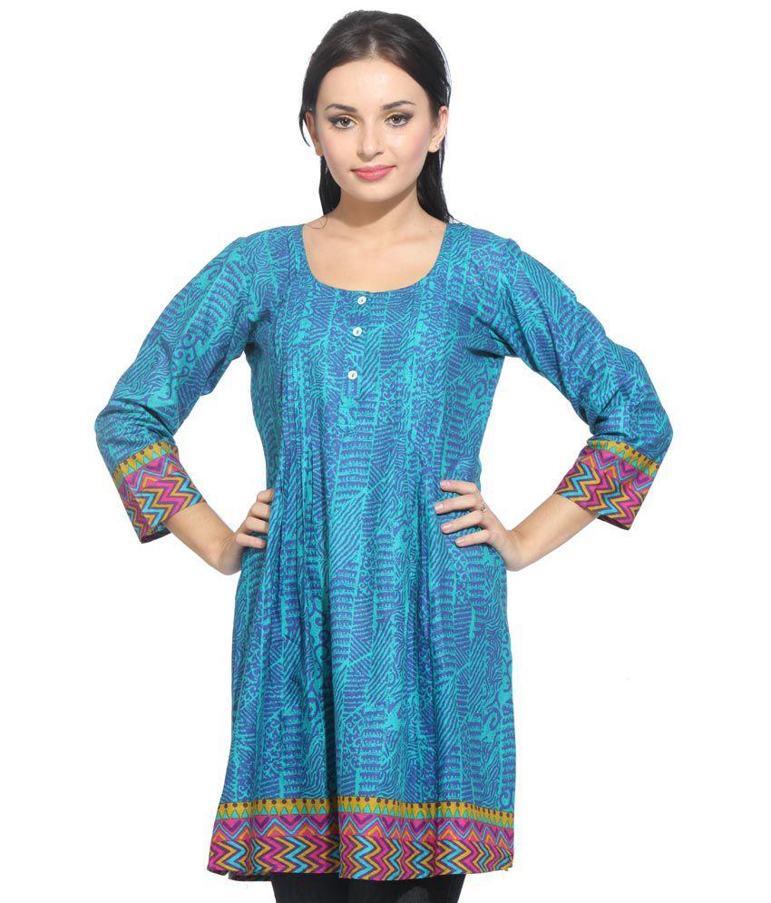 Bombya Fashion Turquoise Cotton Printed Kurti