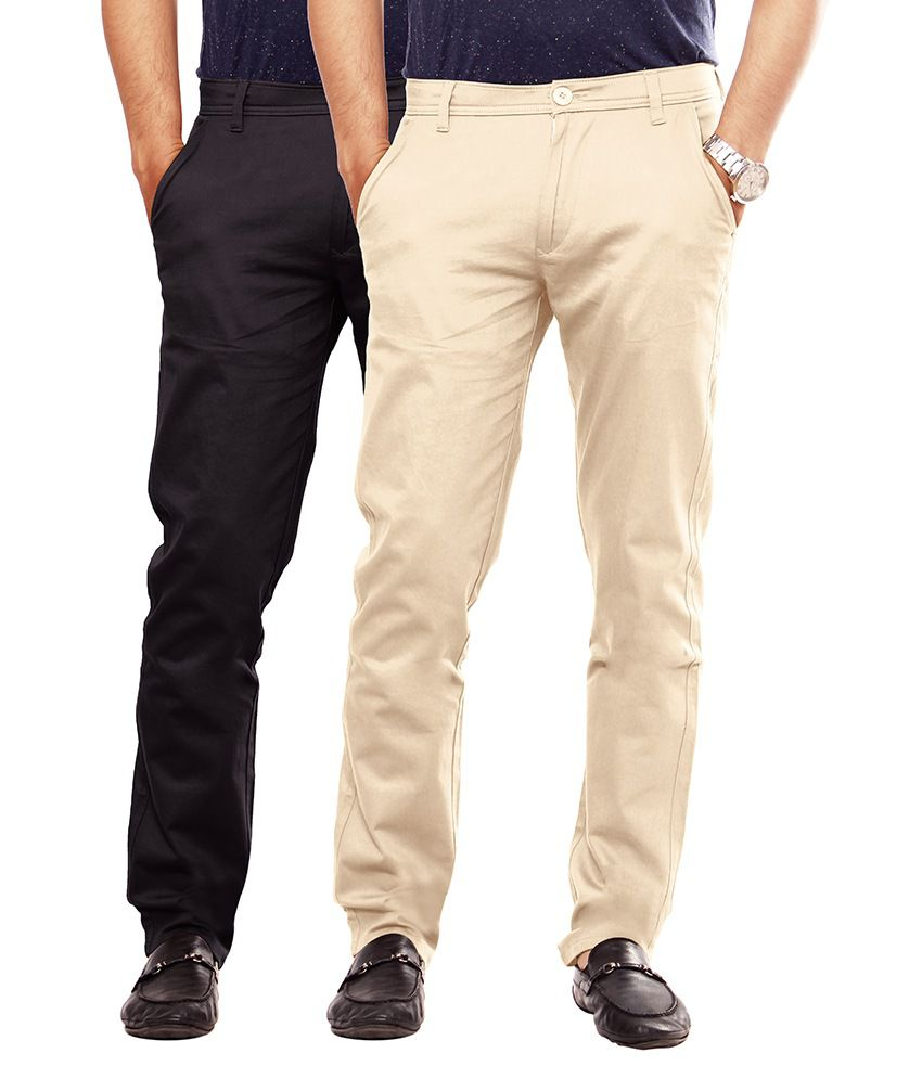 Uber Urban Black Cotton Lycra Casuals Chinos - Pack Of 2