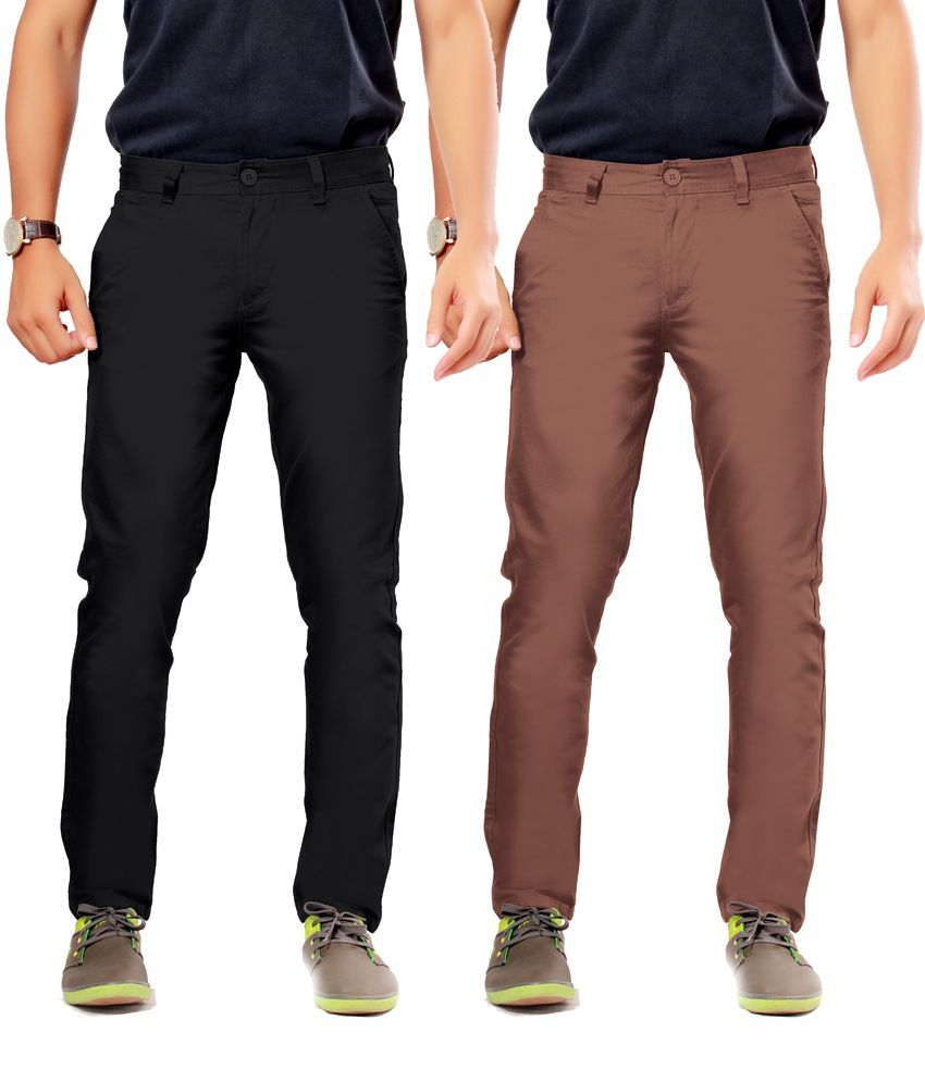 Uber Urban Black Cotton Slim Casuals Chinos - Pack Of 2