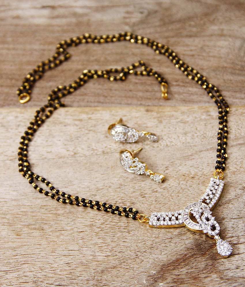 Aradhyaa Jewel Arts Silver Alloy Mangalsutra Set With Chain