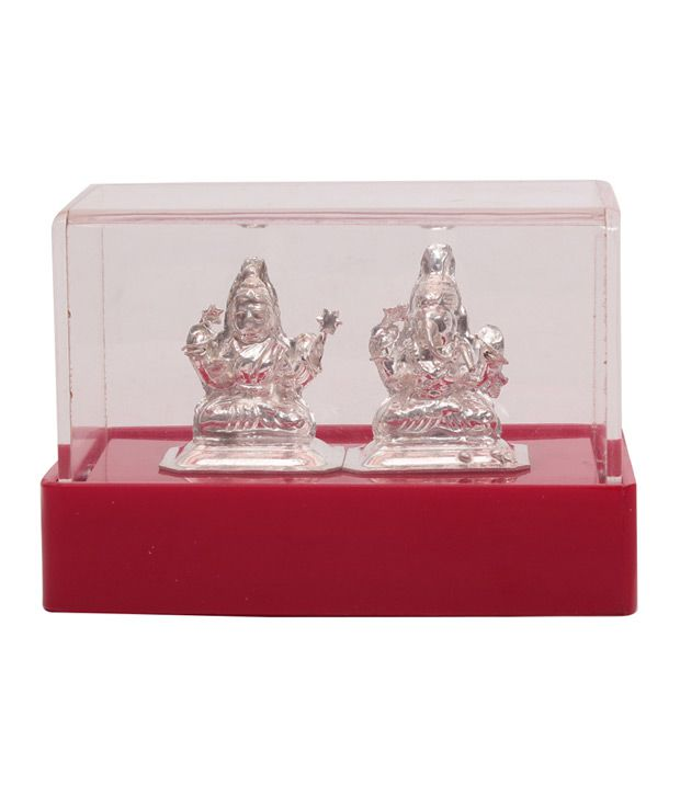 Jewel Fuel Silver Lakshmi - Ganesha Idol In Acrylic Box