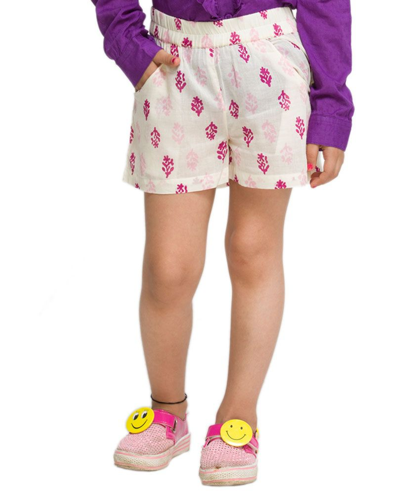 OXOLLOXO Off-White Color Shorts For Kids
