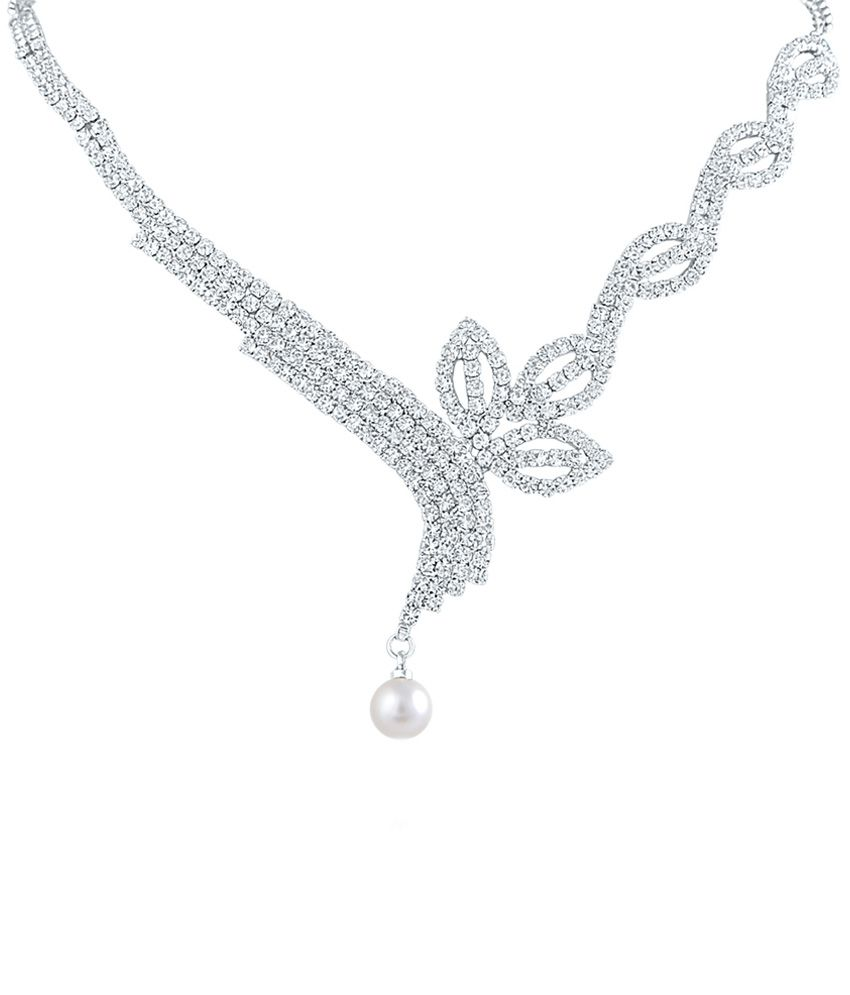Oviya Rhodium Plated Enticing American Diamond Necklace