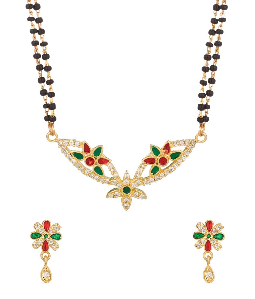 Voylla Double Chain Mangalsutra Set With Floral Designs