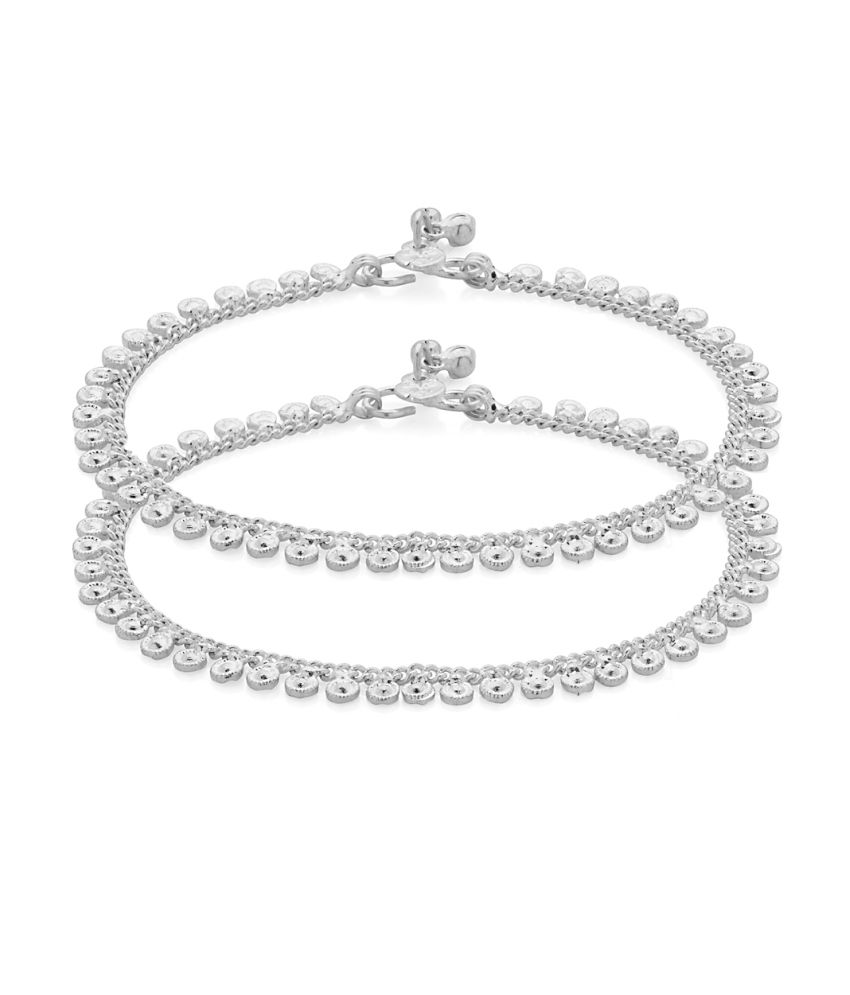 Voylla Exquisite Pair Of Silver Plated Link Anklets Adorned With Shiny Ghunghroo