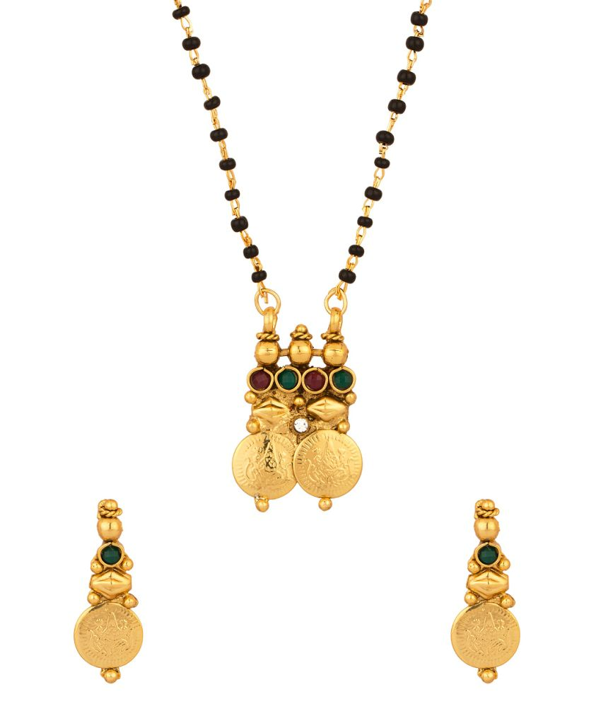 Voylla Lustrous Single Chain Coin Collection Mangalsutra Set Adorned With Cz And Colored Stones