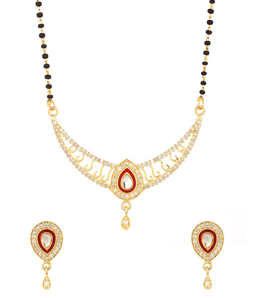 Voylla Mangalsutra Set With Red Colored Enamel Work
