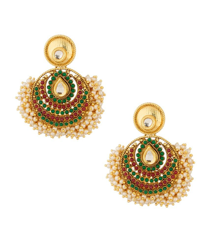 Voylla Pearl, Stone Studded Earrings Set With Gold Plating