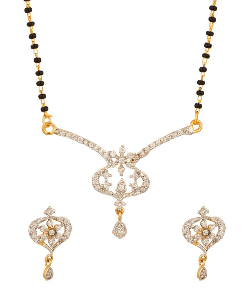 Voylla Single Chain Mangalsutra Set With Intricate Floral Designed Pendant