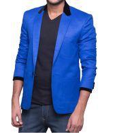 Azio Design Solid Blue Linen Blazer