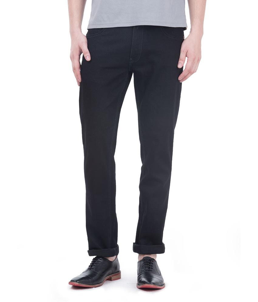 Freecultr Black Cotton Blend Slim Fit Jeans