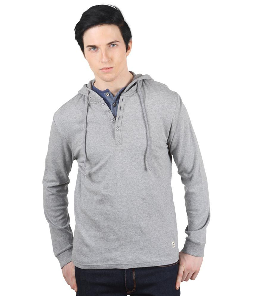 Freecultr Gray Full Sleeves Cotton Henley Neck T-shirt