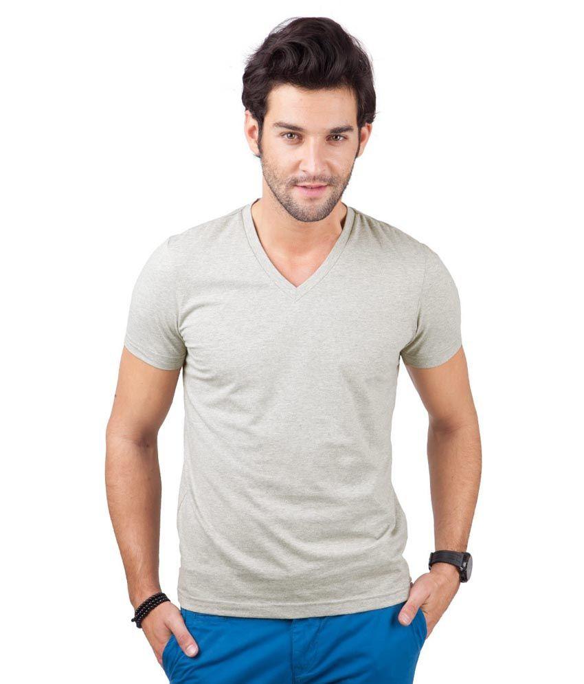 Freecultr Gray Half Sleeves Cotton Blend V-neck T-shirt