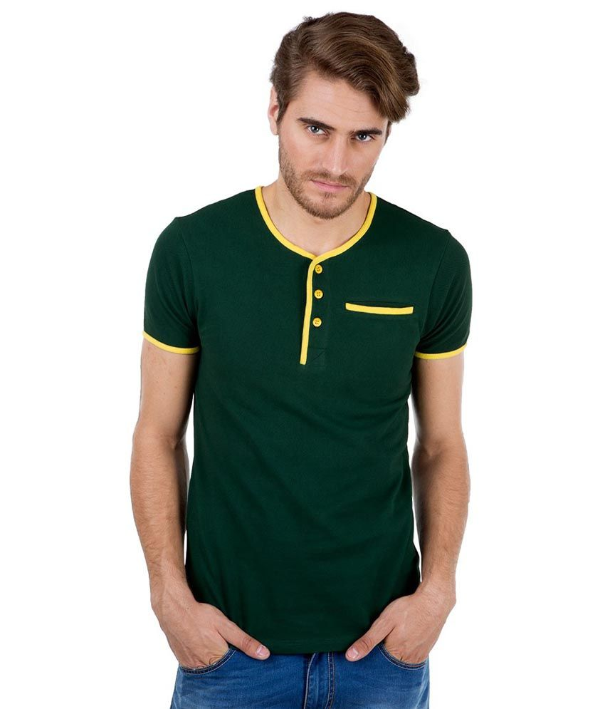 Freecultr Green Full Sleeves Cotton Blend Henley Neck T-shirt