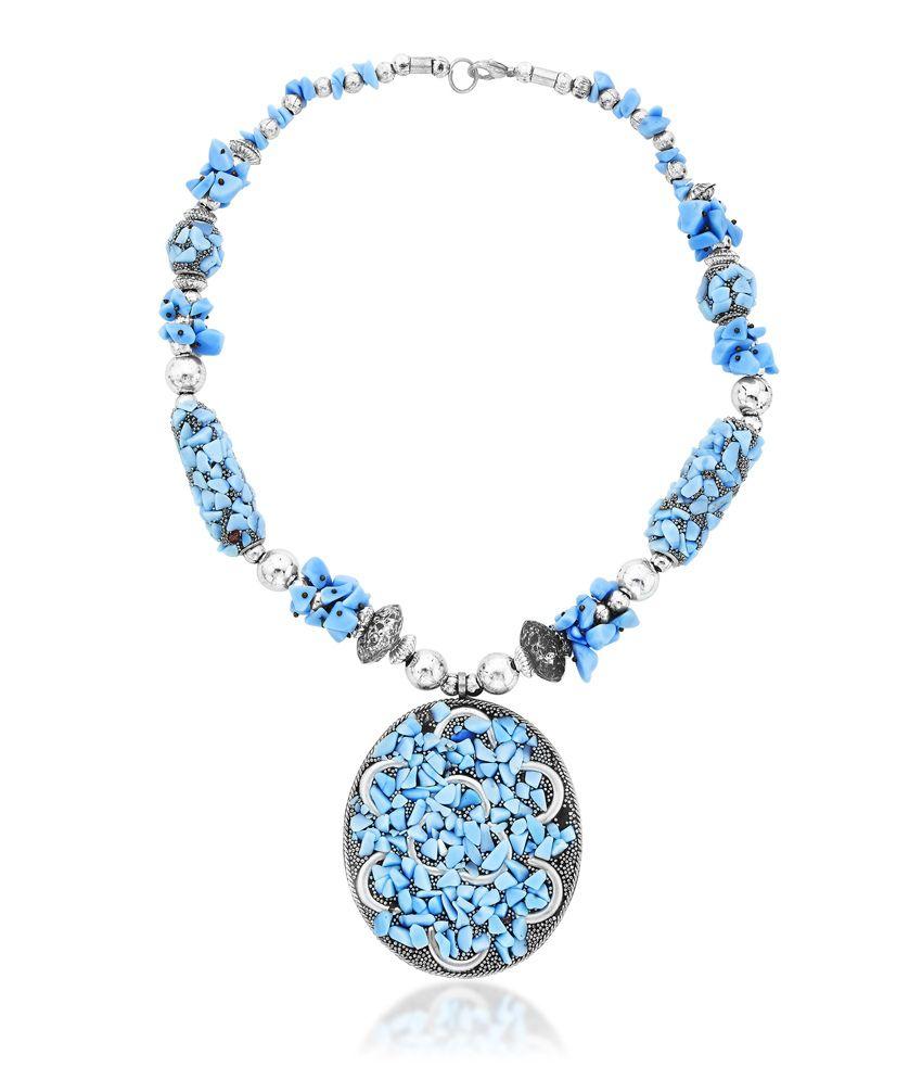 Navanya Blue Antique Necklace Set