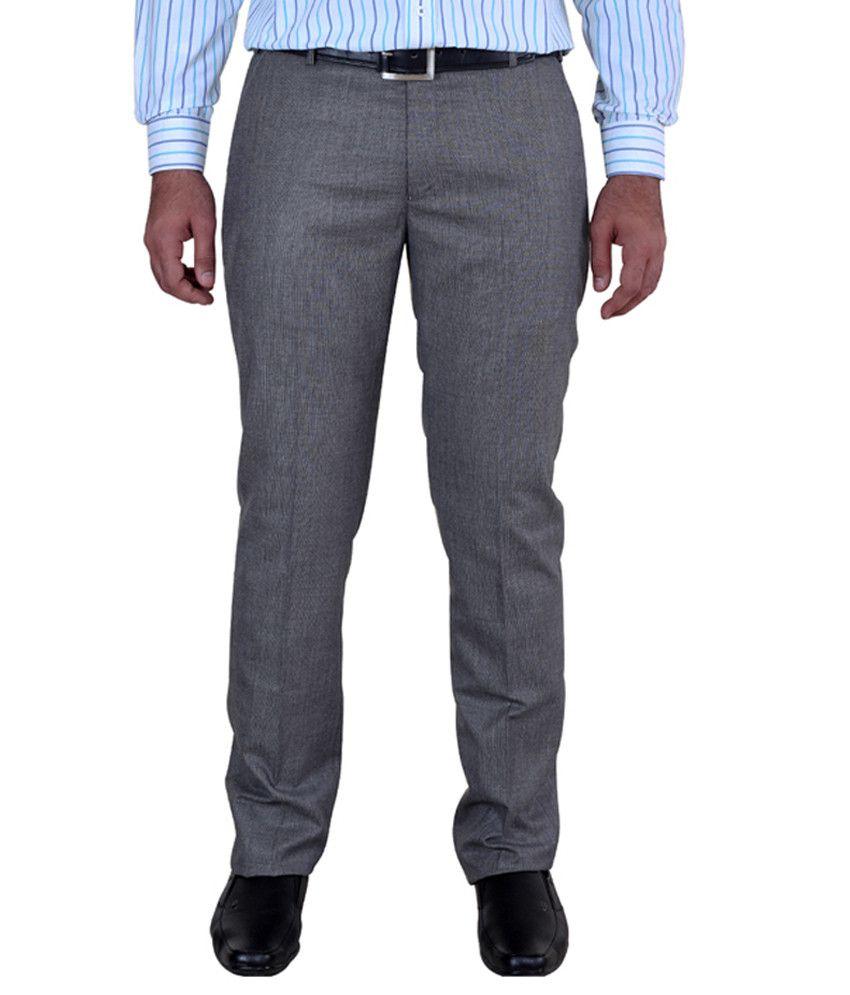 Solemio Gray Poly Viscose Slim Fit Trouser