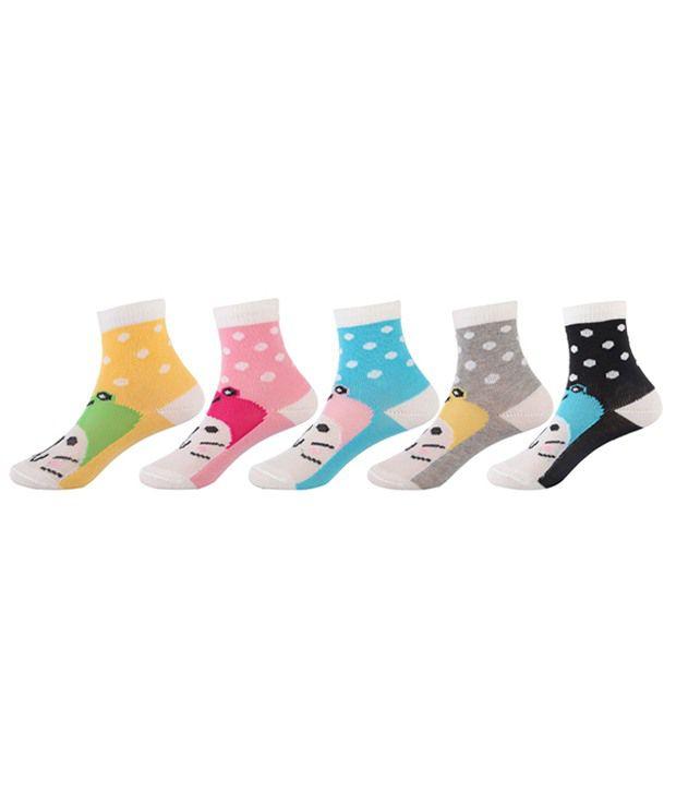Bonjour Multi Casual Ankle Length Socks Kids 5 Pair Pack