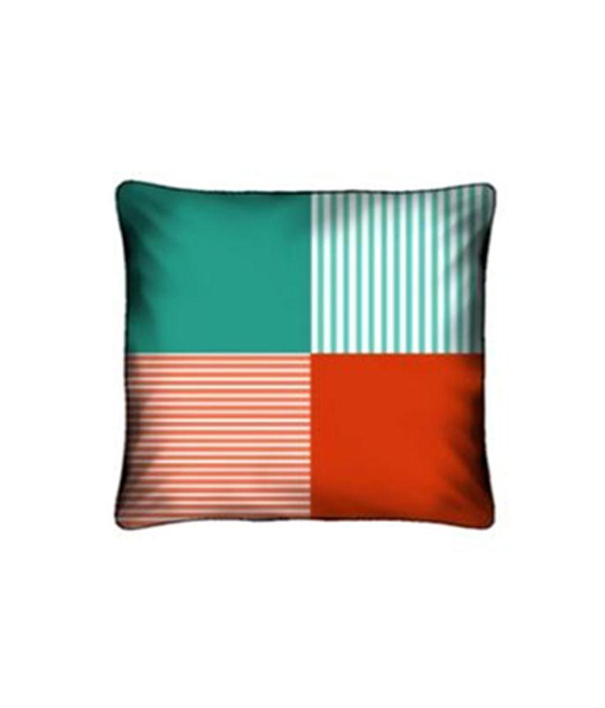 Tangerine Multicolour Stripes Polyester Cushion Cover