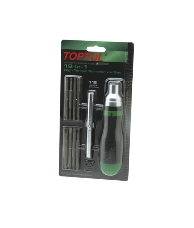 Toptul GAAR1002 19-in-1 Ratchet Screwdriver Set