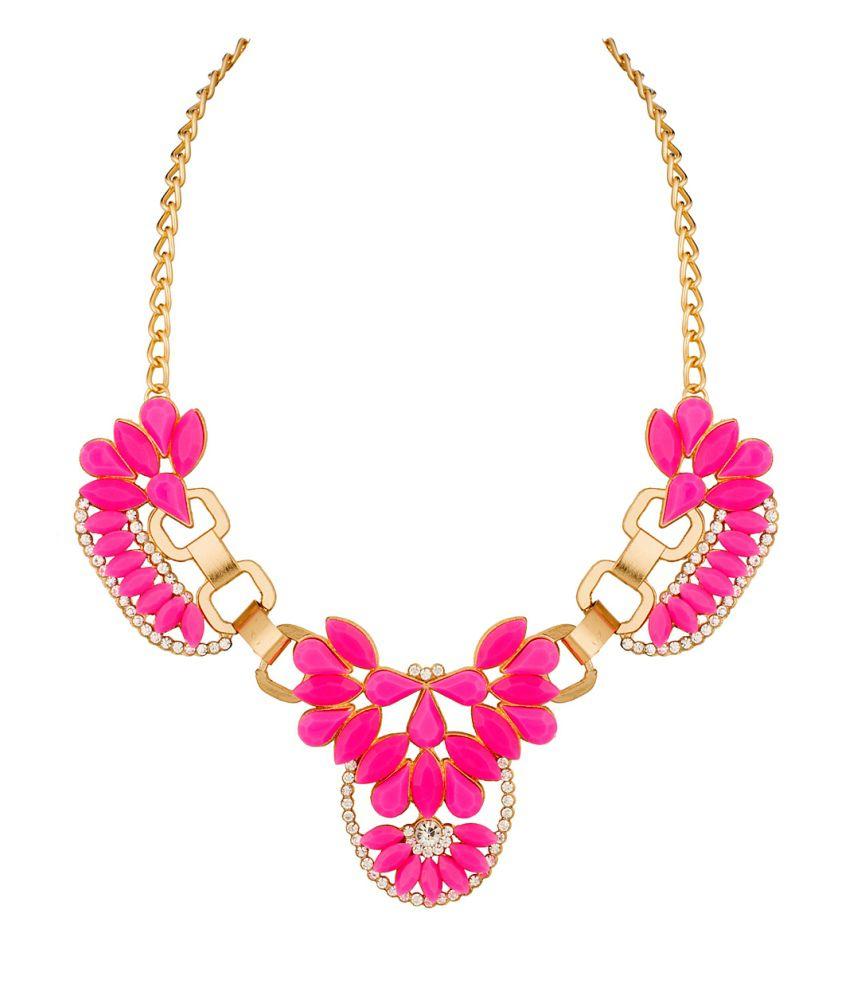Voylla Gold And Bright Pink Colored Floral Motif Neckpiece