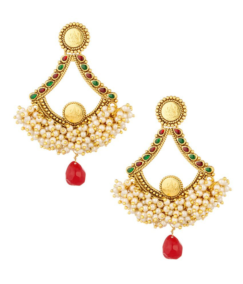 Voylla Gold Plated Earring Set Studded With Pearl Beads, Stones