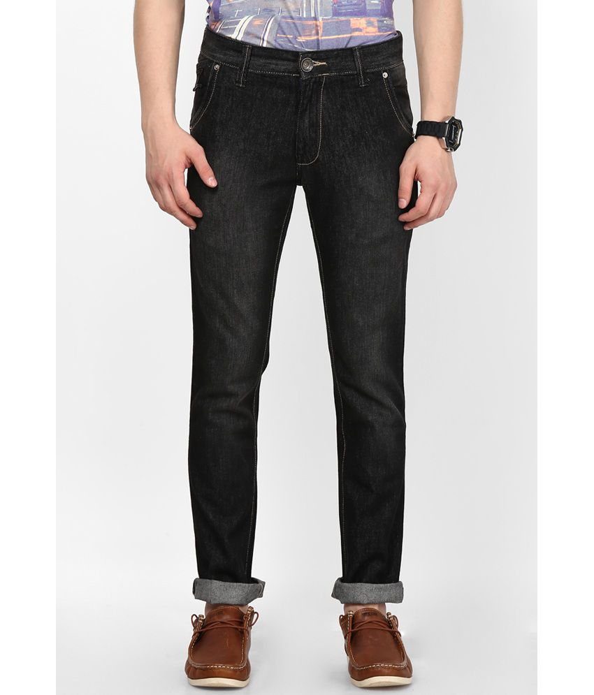 Zaab Black Cotton Regular Fit Denim Jeans