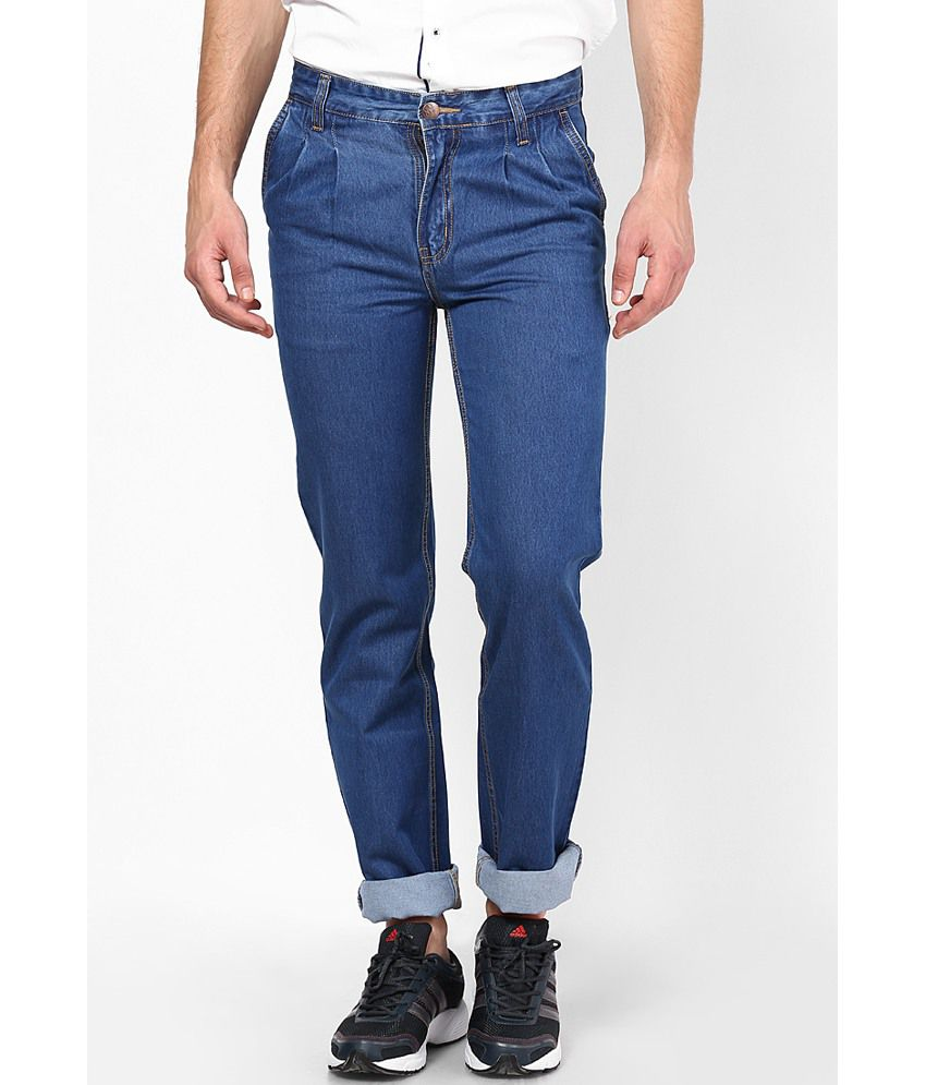 Zaab Blue Cotton Regular Fit Denim Jeans
