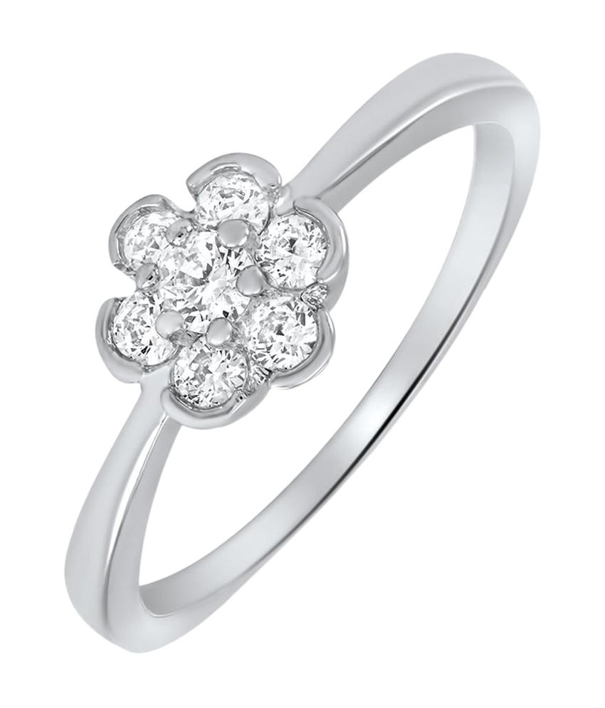 Amogh Jewels Floral Pattern Natural Diamond 92.5 Sterling Silver Ring