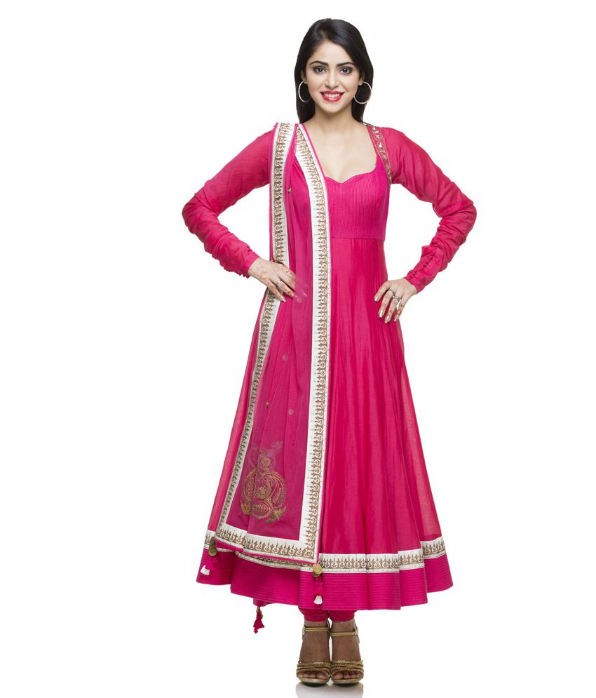 Desert Shine Pink Embroidered Net Stitched Anarkali Salwar Suit