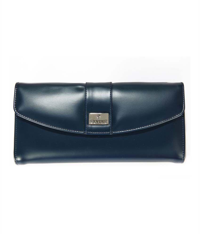 Elvine Designer Blue Pu Ladies Wallet With Magnetic Closure