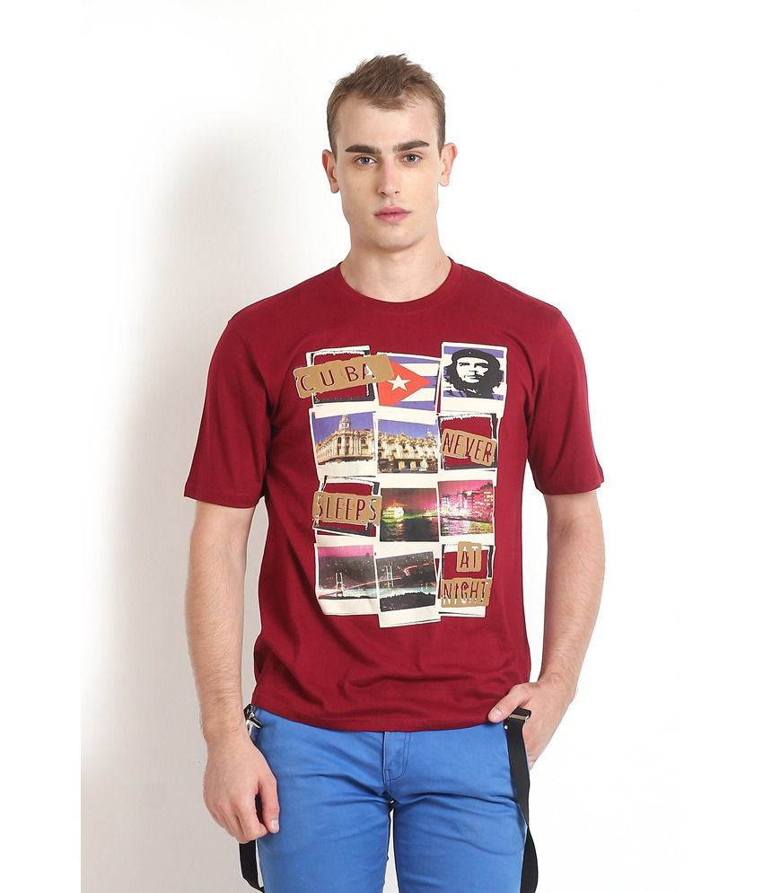 Teen Tees Maroon Cotton Round Neck Printed T-shirt