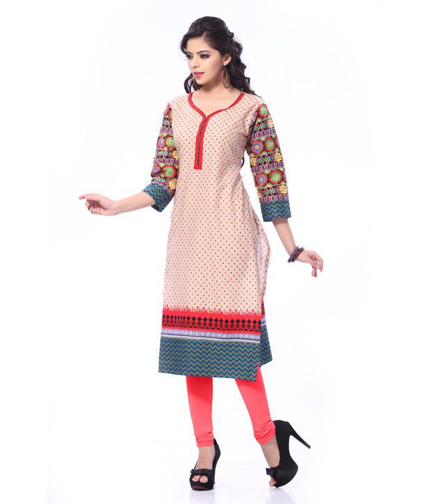 Aaneri Red Cotton 3/4th Sleeves Long Embroidered Kurti