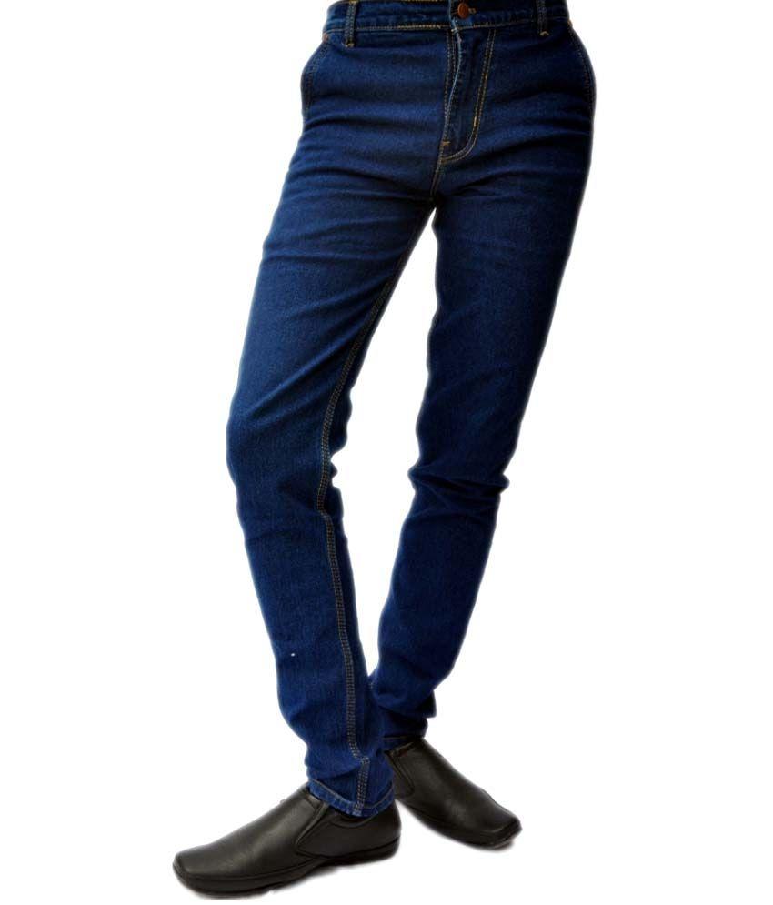 Focker Blue Cotton Blend Skinny Jeans For Men