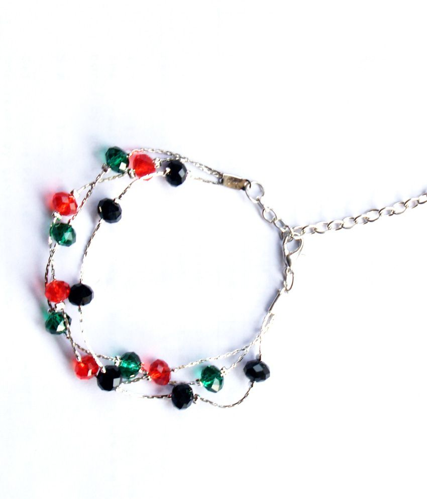 Vr Designers Stylish Multicolor Beaded Anklet