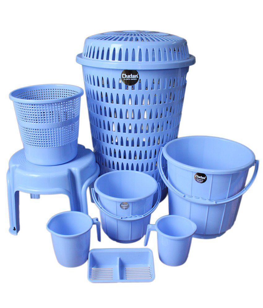 Plastic bathroom sets - Plastic Bathroom Sets Chetan 8 Pc Blue Colour Plastic Bathroom Set