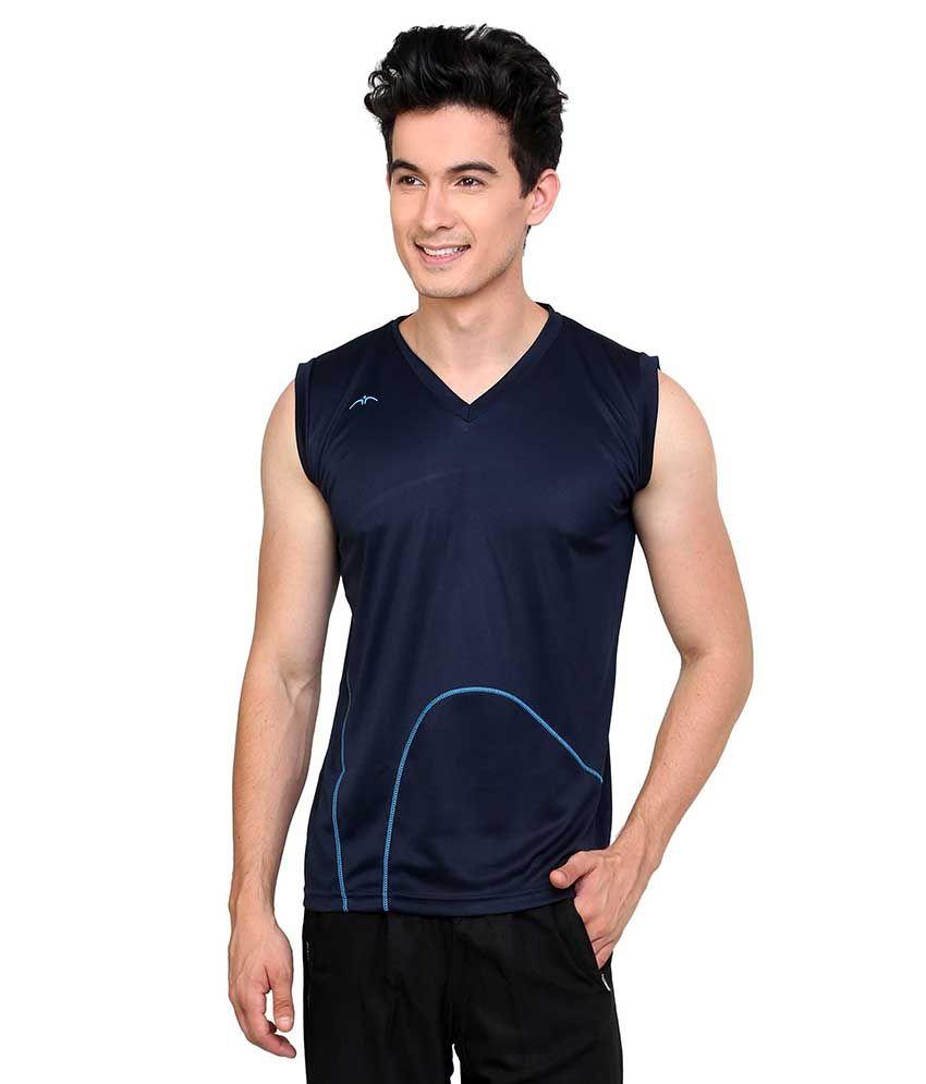 Dida  Navy Sleeveless Polyester V-neck T-shirt
