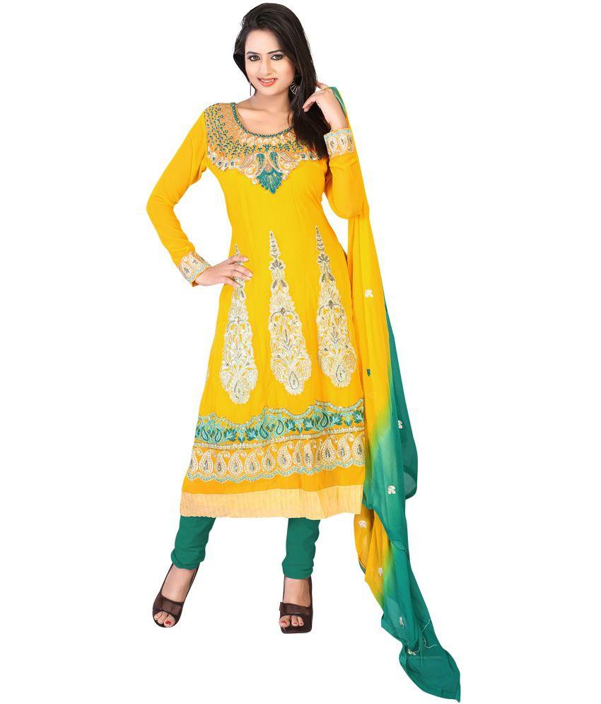 Sanju Sarees Yellow Faux Georgette Unstitched Dress Material