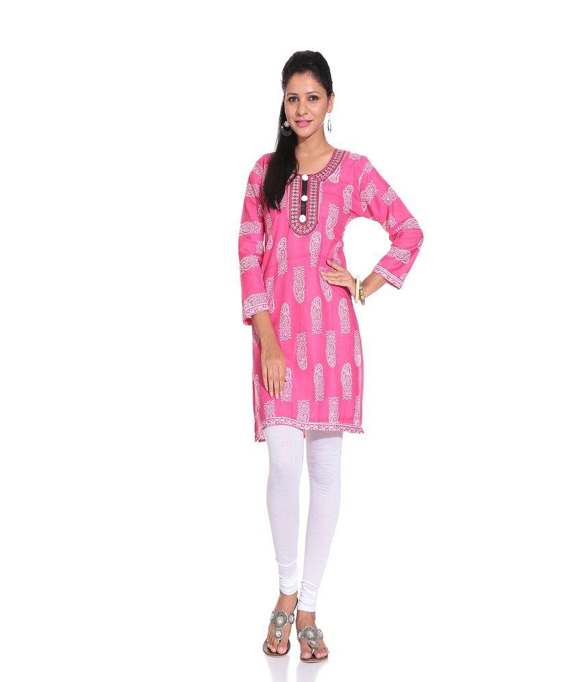 Grace Designs Bright Pink Printed Kurti